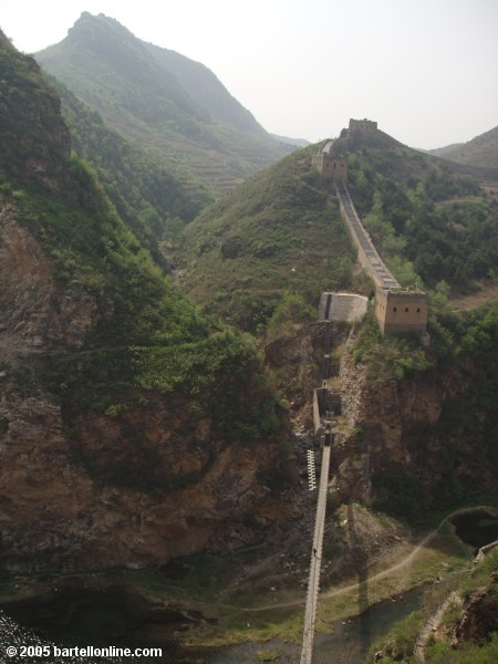 Narrow footbridge near the Simatai section of the Great Wall of China