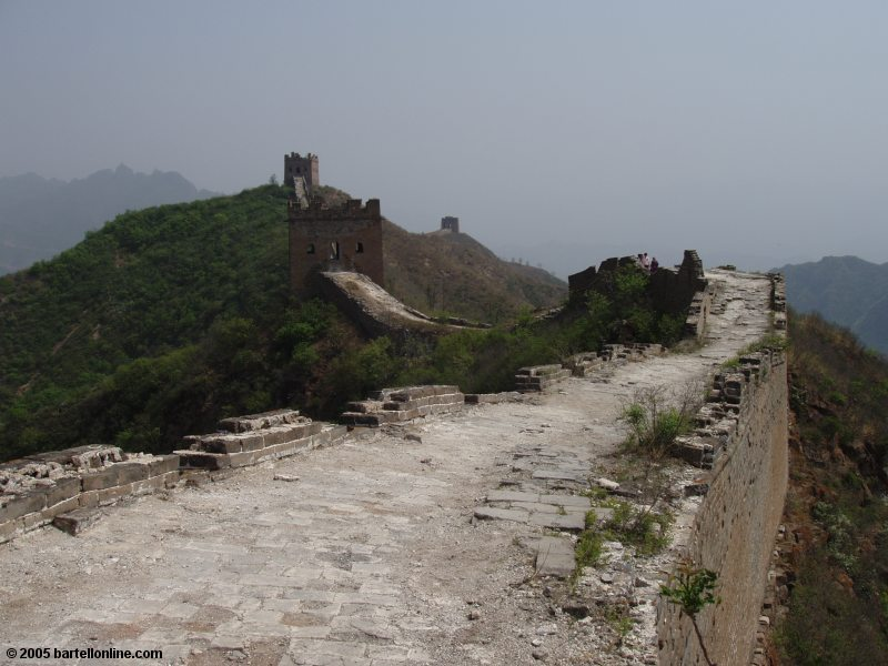 View from atop the Great Wall of China outside Beijing