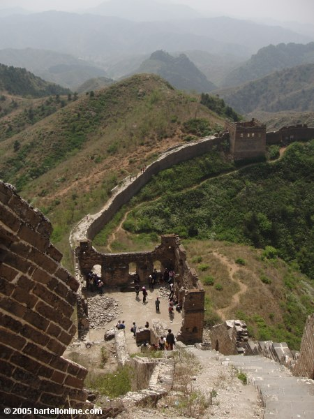 View of ruined tower along the Great Wall of China