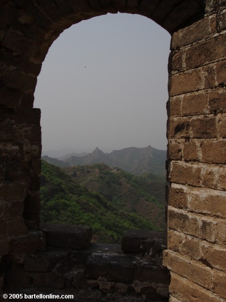 View from inside a tower along the Great Wall of China