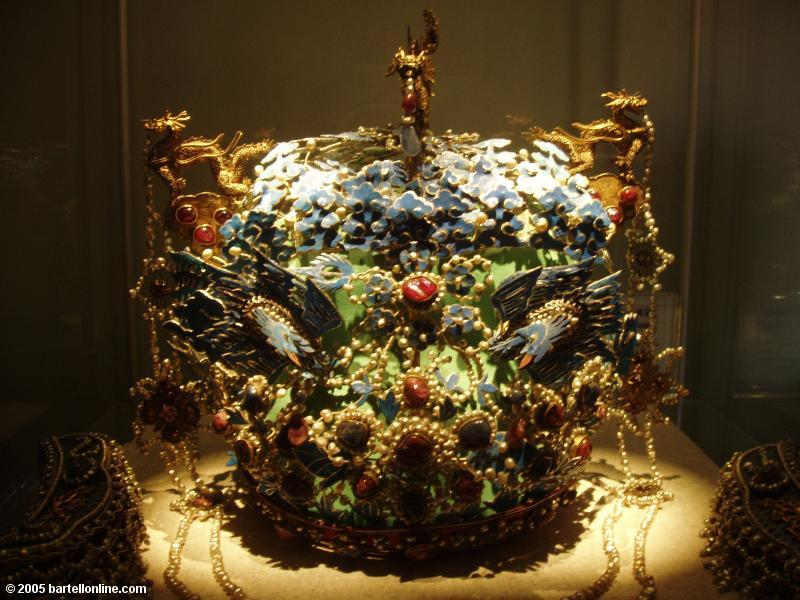 Spectacular crown in the Hall of Jewelery of Beijing's Palace Museum (Forbidden City)