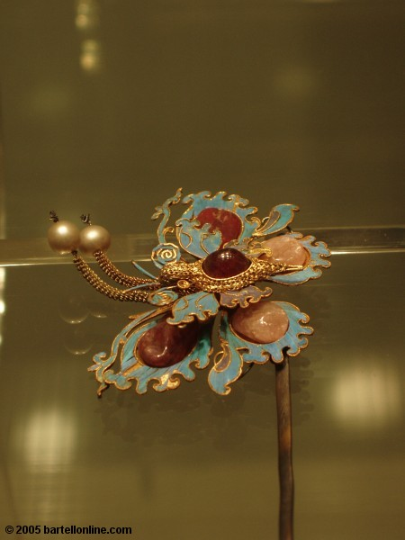 Butterfly hairpin in the Hall of Jewelery of Beijing's Palace Museum (Forbidden City)