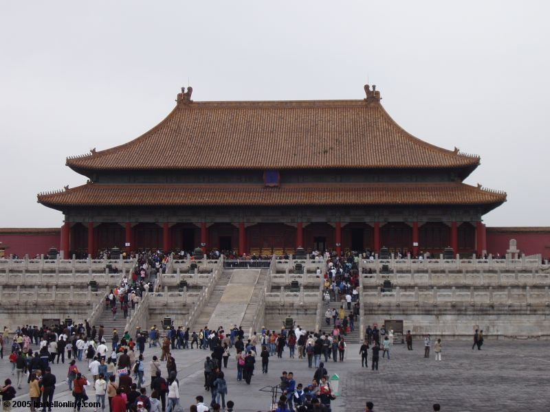 One of the many buildings inside the Forbidden City in Beijing, China