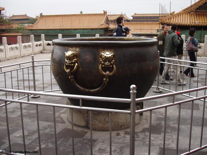 Firefighting water urn inside the Forbidden City in Beijing, China