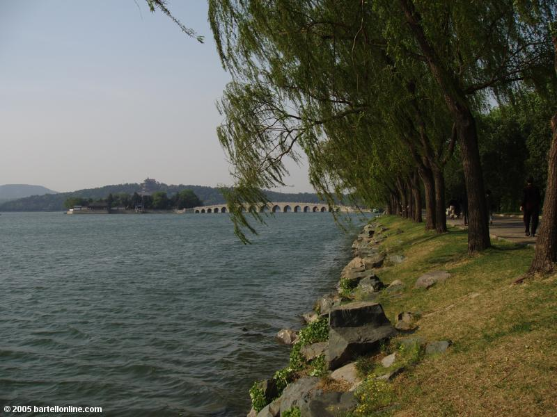 Island, 17-arch Bridge, and Kunming Lake shoreline at the Summer Palace in Beijing, China