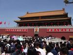 Crowds waits at Tiananmen Gate in Beijing, China