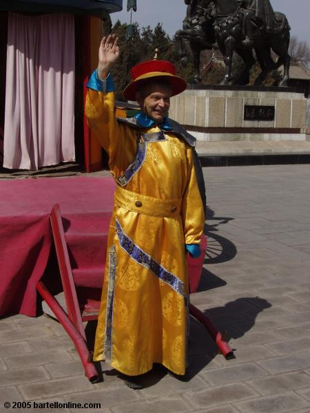 Tourist in rented costume at the tomb of Wang Zhaojun near Hohhot, Inner Mongolia, China