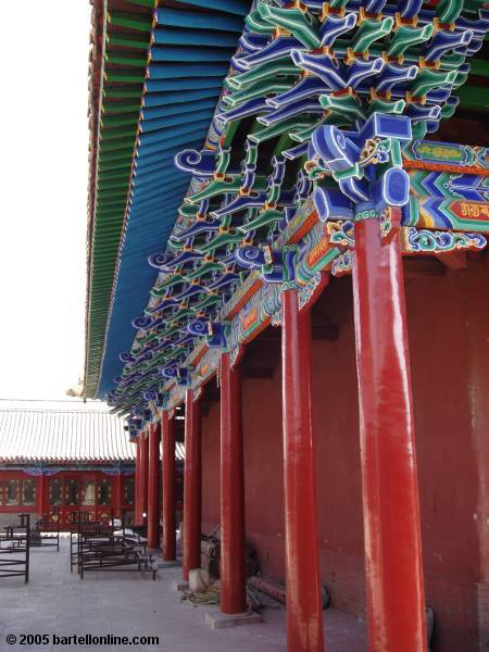 Side of a building inside Dazhao Temple in Hohhot, Inner Mongolia, China