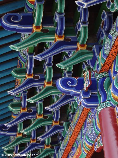 Closeup of colorful eaves at Dazhao Temple in Hohhot, Inner Mongolia, China