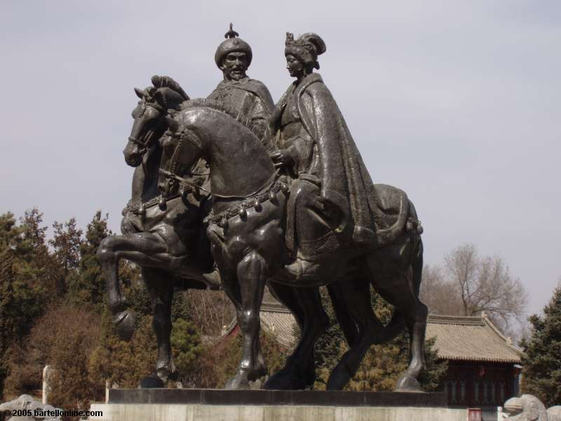 Sculpture of Wang Zhaojun and her Hun chieftan husband at the Tomb of Wang Zhaojun near Hohhot, China