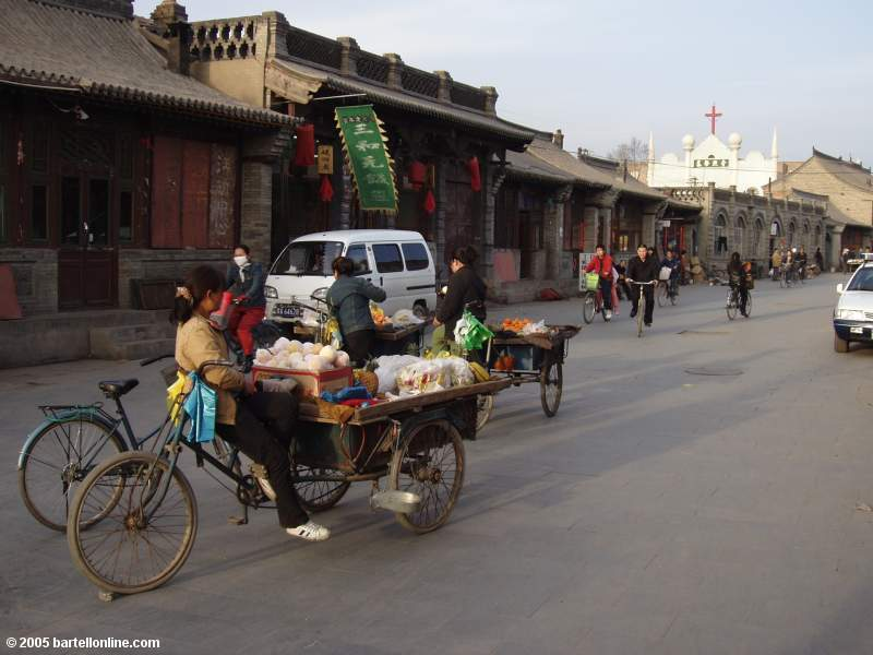 Street scene in an old section of Hohhot, Inner Mongolia, China