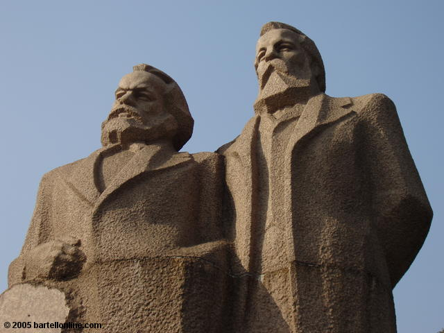 Statue of Marx and Engels in Fuxing Park in Shanghai, China