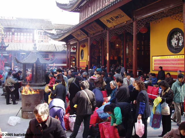 Crowds at the Jade Buddha Temple in Shanghai, China