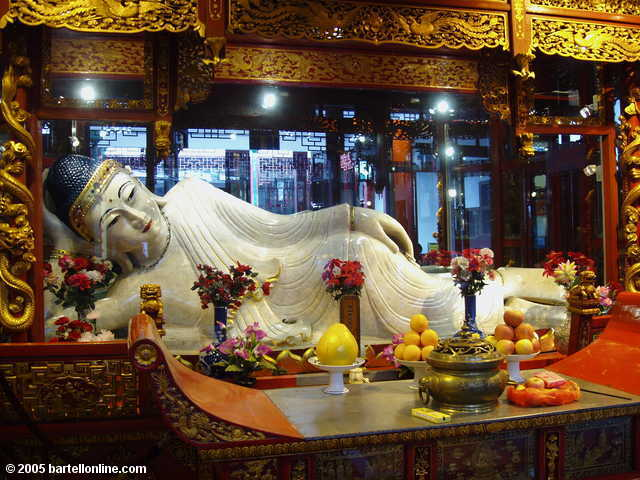 A reclining Buddha at the Jade Buddha Temple in Shanghai, China