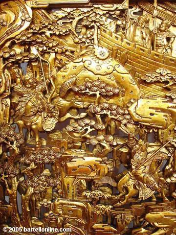 Gilded woodcarving at the Jade Buddha Temple in Shanghai, China