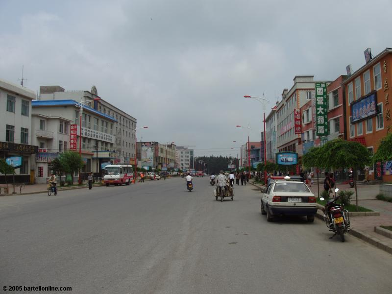 Downtown street in Baihe, Jilin, China