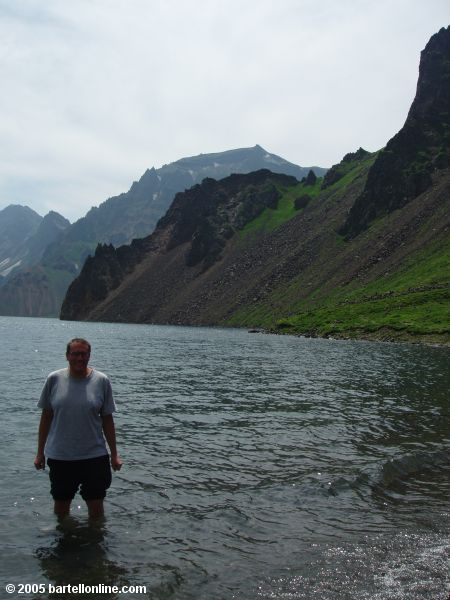 Author standing in Tianchi Lake in the Changbaishan Nature Preserve in Jilin, China