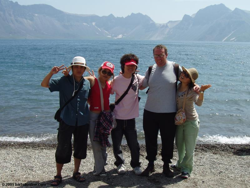 Author poses with Korean students beside Tianchi Lake in the Changbaishan Nature Preserve in Jilin, China