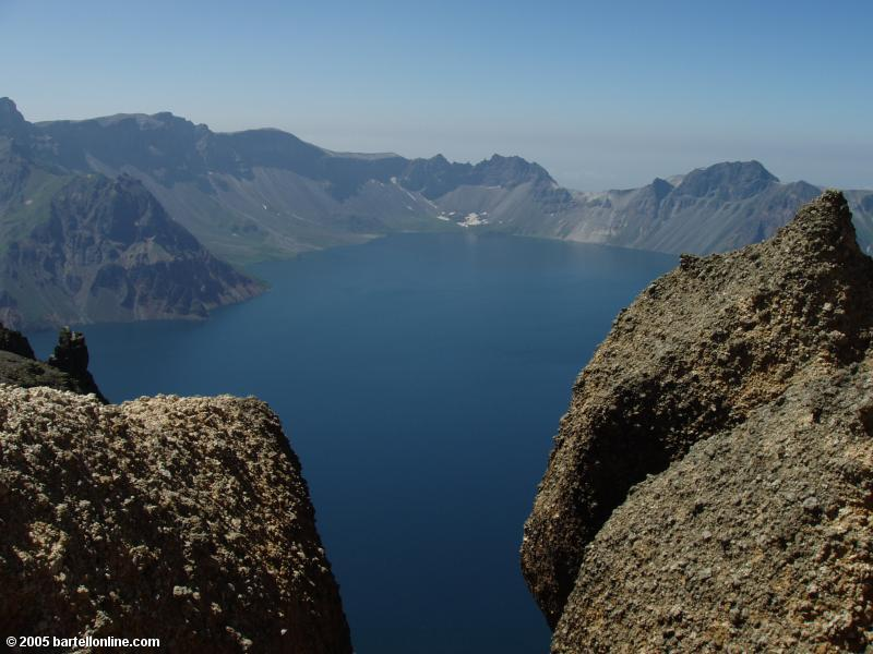 View of Tianchi Lake from the summit of Tianwen Peak in the Changbaishan Nature Preserve in Jilin, China