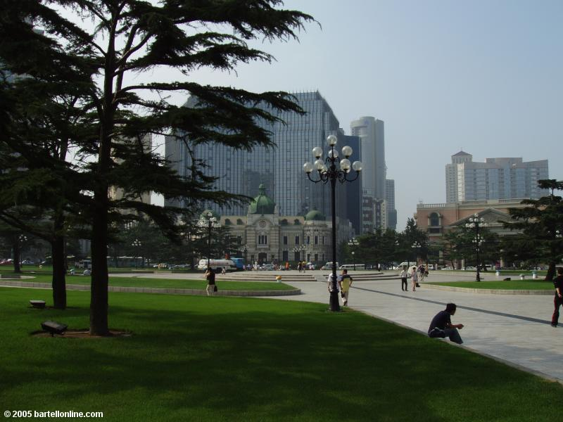 View across Zhongshan Square in Dalian, China