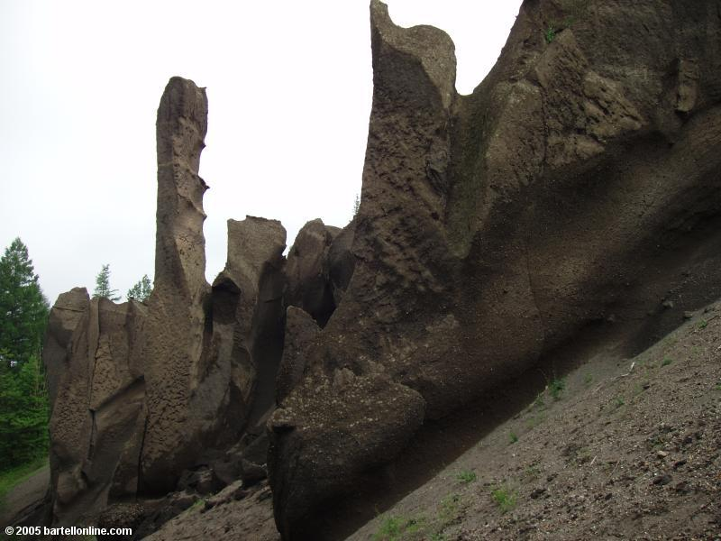 Unusual rock formations in Fushilin Gorges outside the Changbaishan Nature Preserve in Jilin, China