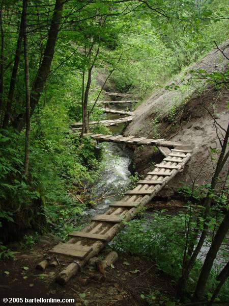 Zig-zagging footbridge on a trail in Fushilin Gorges outside the Changbaishan Nature Preserve in Jilin, China