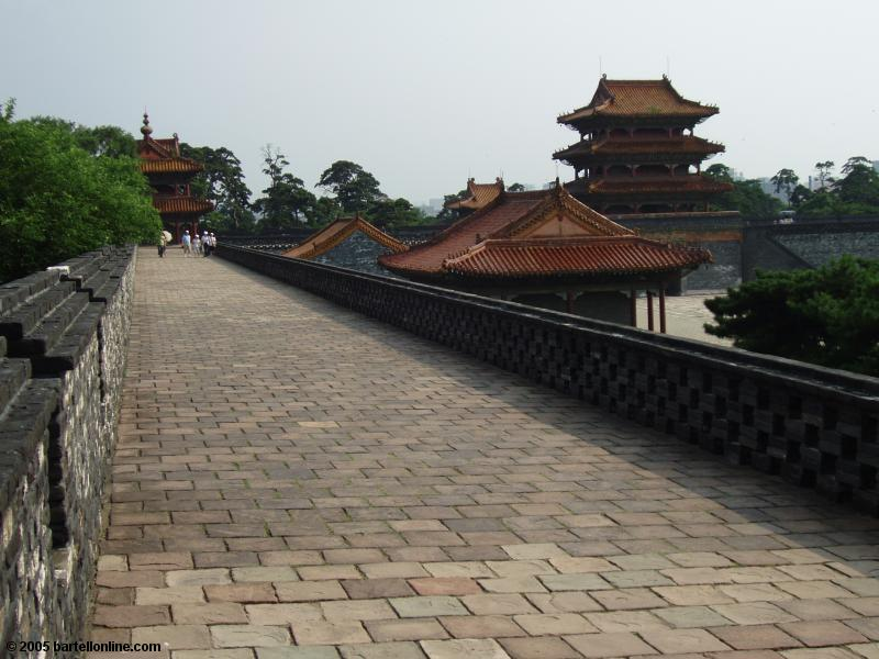 View atop the wall surrounding Zhaoling Tomb in Beiling Park, Shenyang, Liaoning, China
