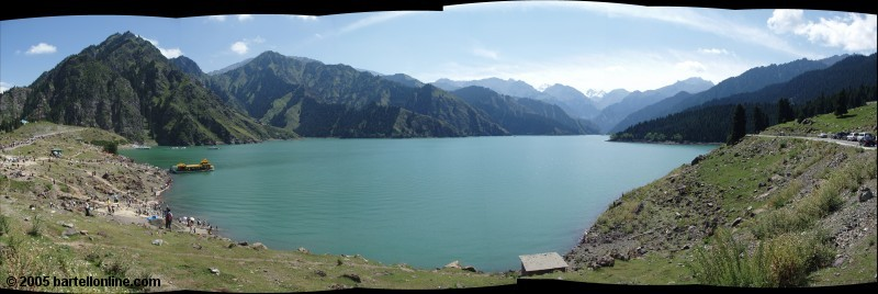 Panorama of Tianchi Lake and surrounding mountains in Xinjiang province, China