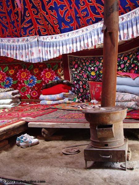 Interior of one of Rashit's Guest Yurts at Tianchi Lake in Xinjiang province, China