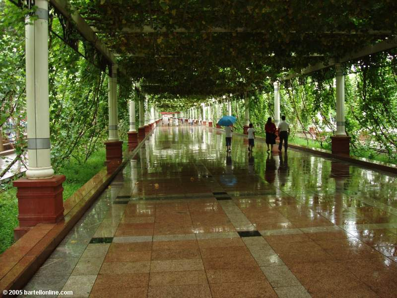 View along the grape-covered pedestrian street in Turpan, Xinjiang, China