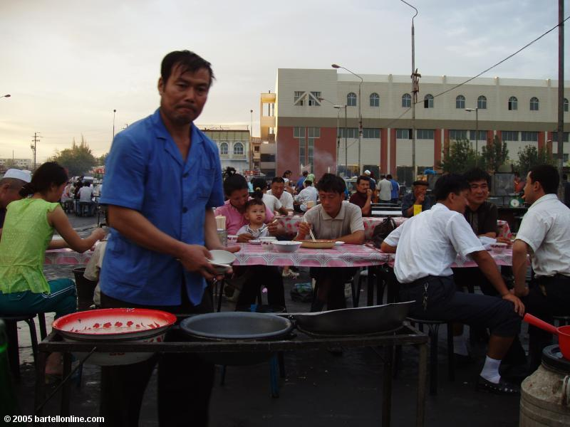 Dishwashing section of an outdoor restaurant in Turpan, Xinjiang, China