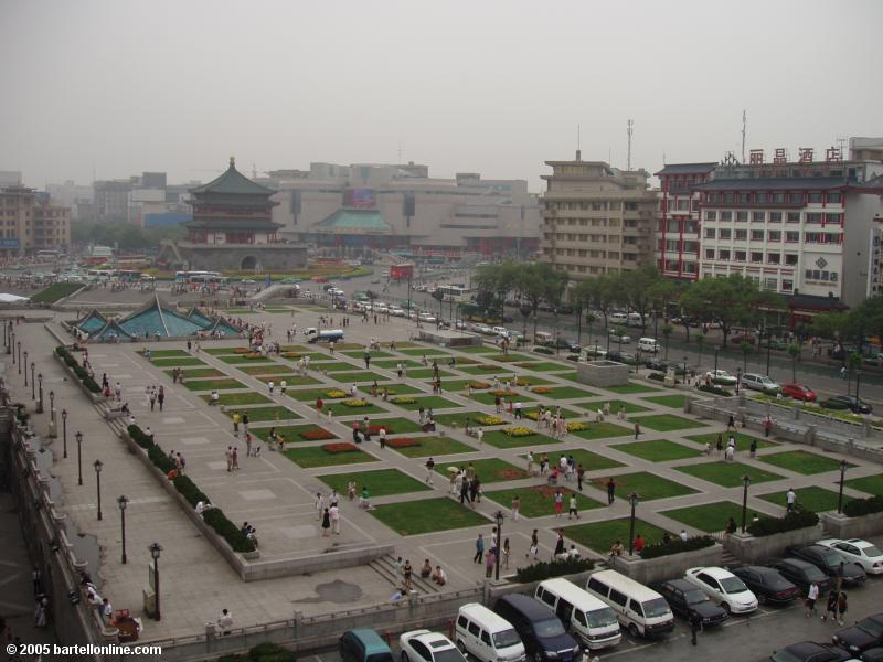 View from the Drum Tower in Xi'an, Shaanxi, China towards the Bell Tower