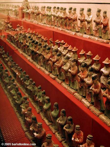 Small pottery guard figures inside the Shaanxi History Museum in Xi'an, China