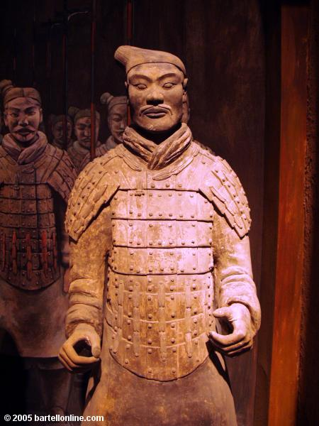 Terracotta Warrior figure inside the Shaanxi History Museum in Xi'an, China