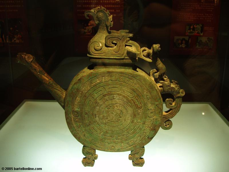 Brass work in the Qin Warrior Museum at the Terracotta Warriors site near Xi'an, Shaanxi, China