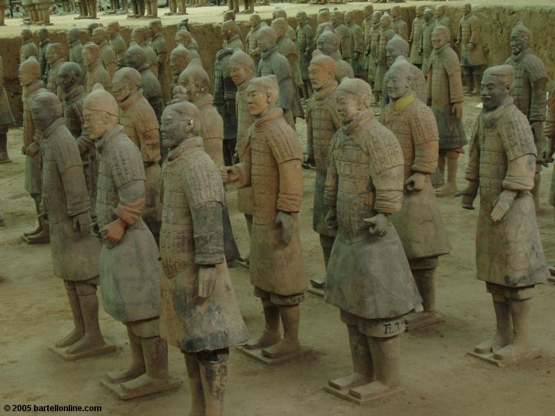Ceramic warrior figures at the Terracotta Warriors site near Xi'an, Shaanxi, China