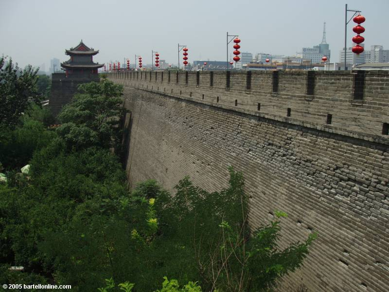 View from an Enemy Tower on the city wall around Xi'an, Shaanxi, China