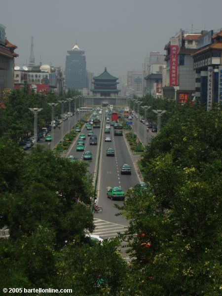 View of the Bell Tower from atop the city wall around Xi'an, Shaanxi, China