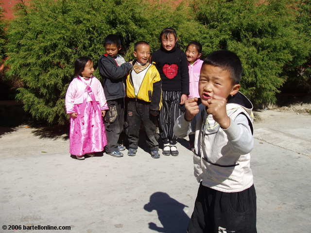 Children, led by an aspiring Jackie Chen, pose for the camera near the Three Pagodas in Dali, Yunnan, China