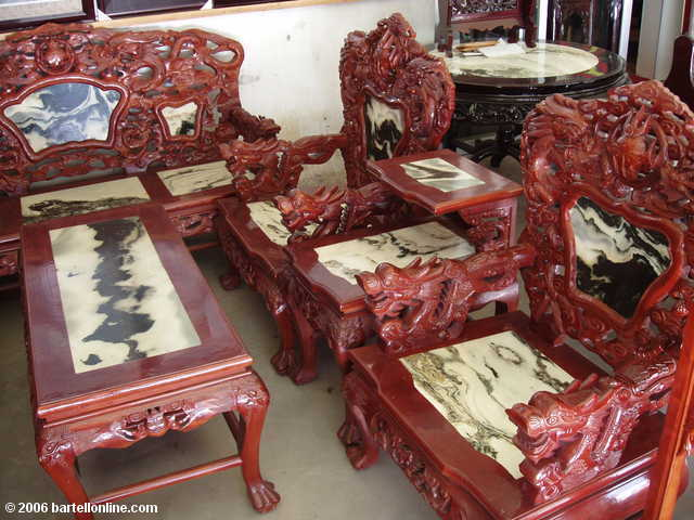 Wood and marble furniture for sale at a shop in Dali, Yunnan, China
