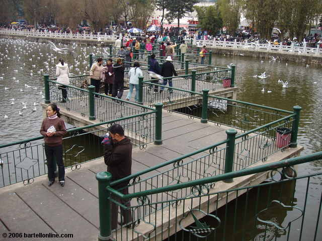 A pedestrian bridge zig-zags across Green Lake in Cuihu Park, Kunming, Yunnan, China