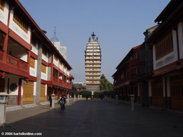 Street leading from the West Pagoda to the East Pagoda in Kunming, Yunnan, China