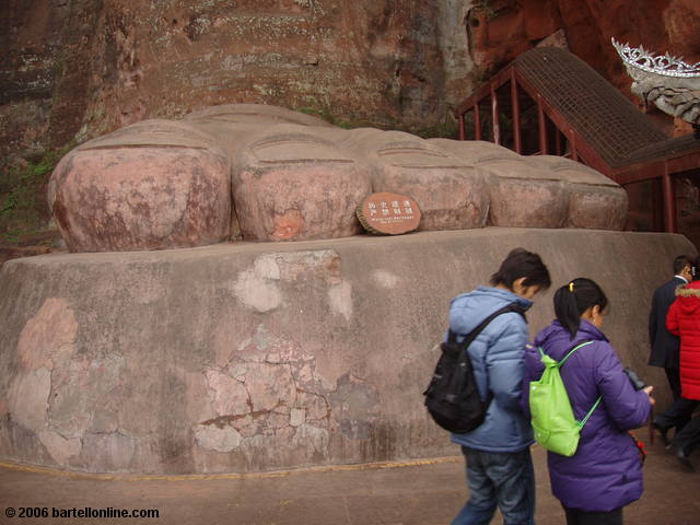 Right foot of the Giant Buddha in Leshan, Sichuan, China