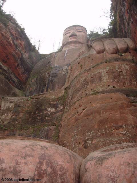 View up from between the left toes of the Giant Buddha in Leshan, Sichuan, China
