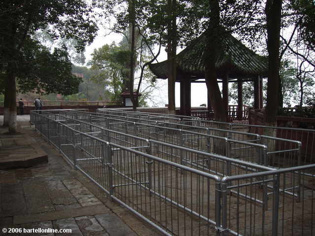 Empty queue to descend the stairs down the cliff beside the Giant Buddha in Leshan, Sichuan, China