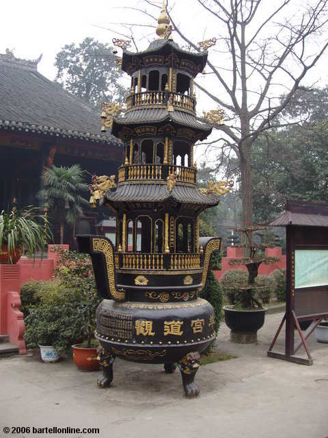 Large incense burner at Qingyang Temple in Chengdu, Sichuan, China