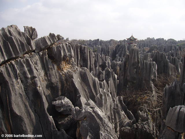 View from the pavilion above the limestone karsts at the Stone Forest near Kunming, Yunnan, China