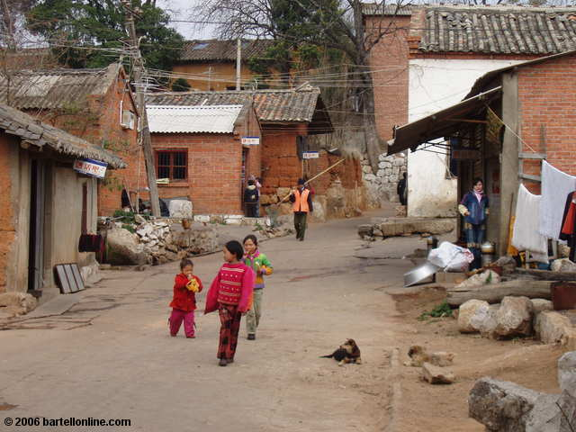 Street scene in a small village inside the Stone Forest near Kunming, Yunnan, China