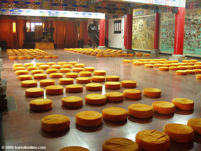 Prayer mats in the Hall of 500 Arhats at Wenshu monastery in Chengdu, Sichuan, China