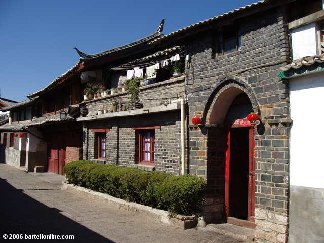 Brick and stone house in the Old Town of Lijiang, Yunnan, China